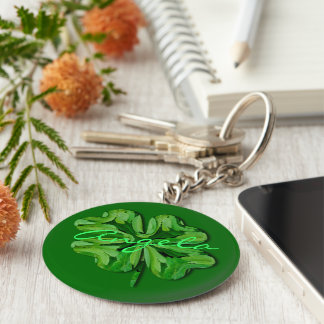 (Personalize)Four Leaf Clover with Name Keychain