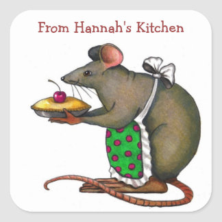 Personalize: From My Kitchen: Cute Rat Square Sticker