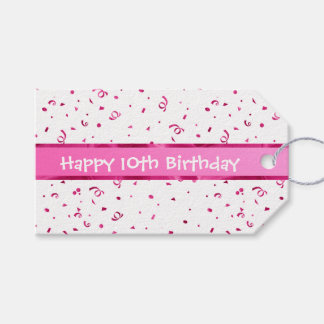 Personalize: Fuchsia Textured Fabric Look Birthday Gift Tags
