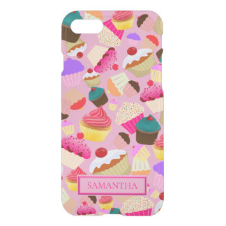 Personalize .. Fun, Bright Pink Cupcake iPhone 8/7 Case