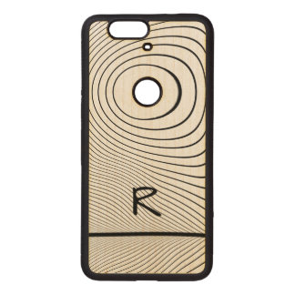 Personalize: Fun Distorted Black and White Stripes Wood Nexus 6P Case