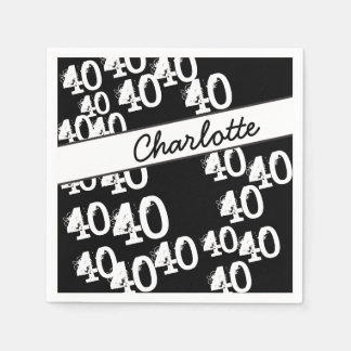 Personalize Funky 40th Birthday Disposable Napkin