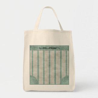 Personalize Geometric Aqua & White Linen Stripes Tote Bag