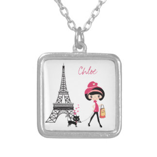 Personalize Girl and Cat Paris Necklace