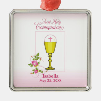 Personalize Girl Name Pink First Holy Communion Metal Ornament