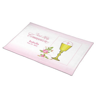 Personalize Girl Name Pink First Holy Communion Placemat