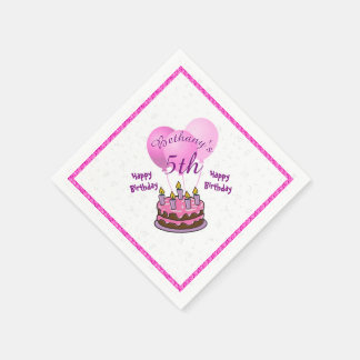 Personalize Girls 5th Birthday Party Pink Balloons Paper Napkin