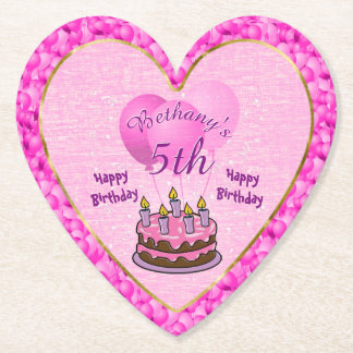 Personalize Girls 5th Birthday Party Textured Pink Paper Coaster