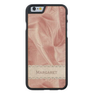 Personalize: Girly Faux Pink Lame' Metallic Fabric Carved® Maple iPhone 6 Case