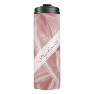 Personalize: Girly Faux Pink Lame' Metallic Fabric Thermal Tumbler