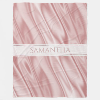 Personalize: Girly Pastel Pink Faux Satin Fabric Fleece Blanket