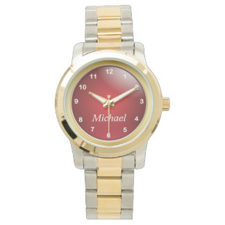 Personalize Gold and Deep Red with White Numbers Watch