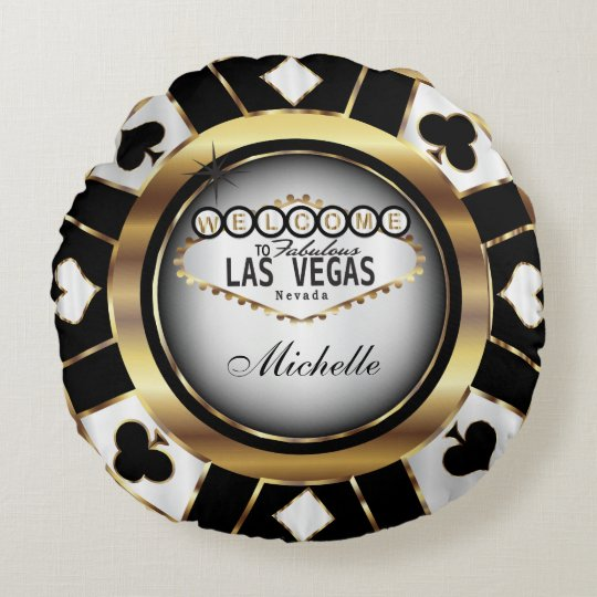 Personalize Gold, Black and White Poker Chip Round Pillow