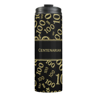 Personalize: Gold/Black Number 100 Random Pattern Thermal Tumbler