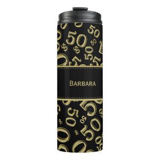 Personalize: Gold/Black Number 50 Random Pattern Thermal Tumbler