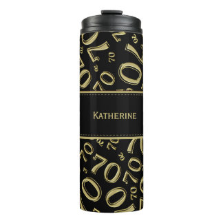Personalize: Gold/Black Number 70 Random Pattern Thermal Tumbler