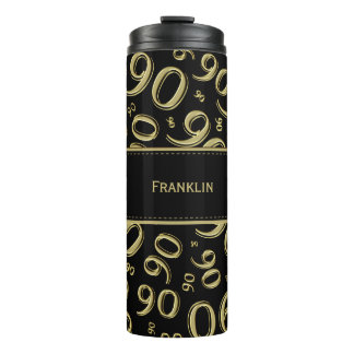 Personalize: Gold/Black Number 90 Random Pattern Thermal Tumbler