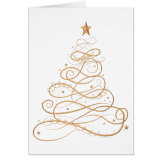 Personalize: Gold Metallic Filigree Christmas Tree Card