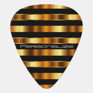 Personalize Gold Metallic Stripes Pick