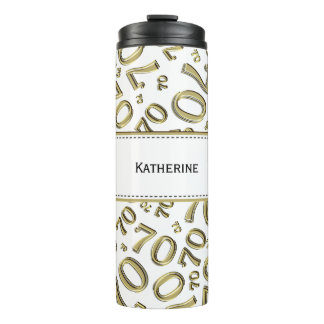 Personalize: Gold/White Number 70 Random Pattern Thermal Tumbler