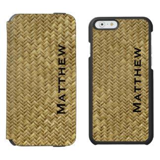 Personalize:  GoldenFaux Basket Weave Pattern Incipio Watson™ iPhone 6 Wallet Case