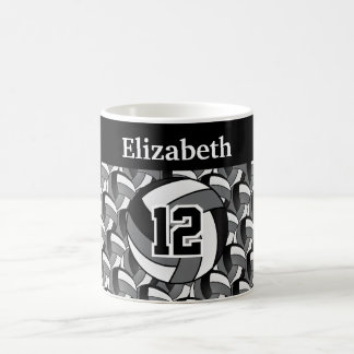 Personalize Gray, Black and White Volleyball Coffee Mug