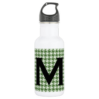 Personalize: Green and White Houndstooth Pattern 532 Ml Water Bottle