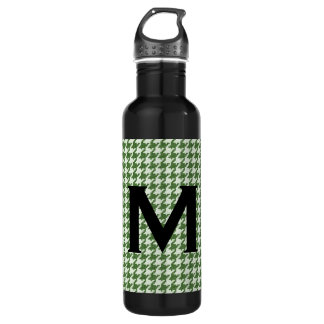 Personalize: Green and White Houndstooth Pattern 710 Ml Water Bottle
