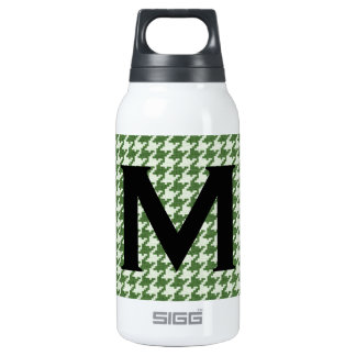 Personalize: Green and White Houndstooth Pattern Insulated Water Bottle