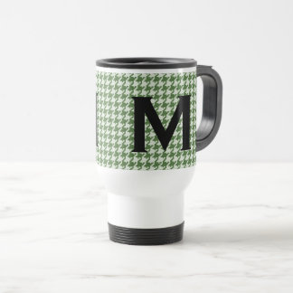 Personalize: Green and White Houndstooth Pattern Travel Mug