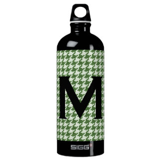 Personalize: Green and White Houndstooth Pattern Water Bottle