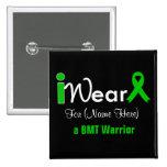 Personalize Green Ribbon Bone Marrow Transplant Pinback Button