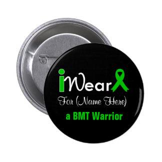 Personalize Green Ribbon Bone Marrow Transplant 2 Inch Round Button