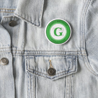 Personalize: Green/White Bold Initial and Age 2 Inch Round Button