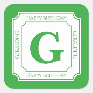 Personalize: Green/White Bold Initials Birthday Square Sticker