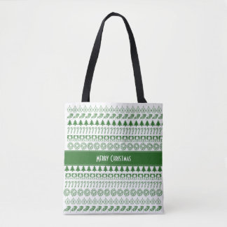 Personalize Green/White Christmas Font Art Pattern Tote Bag