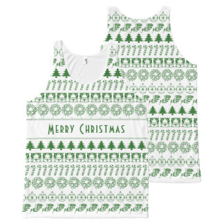 Personalize:Green/White Christmas Font Art Stripes All-Over-Print Tank Top