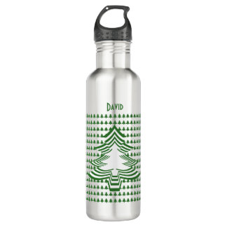 Personalize Green/White Christmas Tree Font (24) 710 Ml Water Bottle