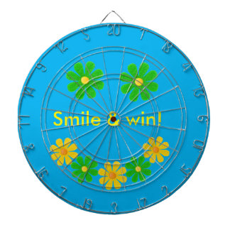 Personalize green yellow smille flower on sky blue dartboard
