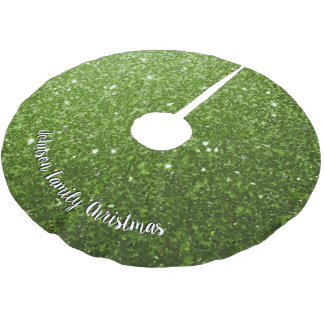 Personalize Greenery Green glitter sparkles Brushed Polyester Tree Skirt