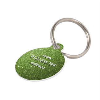 Personalize Greenery Green glitter sparkles Pet Name Tag