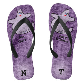 Personalize: Halloween Diva Ghost on Purple Flip Flops