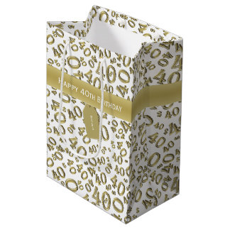 Personalize:  Happy 40th Birthday Gold/White (M) Medium Gift Bag