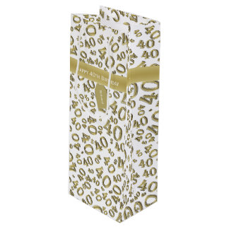 Personalize:  Happy 40th Birthday Gold/White(W) Wine Gift Bag