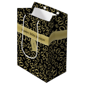 Personalize:  Happy 50th Birthday Gold/Black (M) Medium Gift Bag