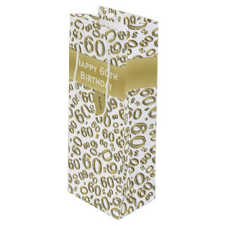 Personalize:  Happy 60th Birthday Gold/White (W) Wine Gift Bag