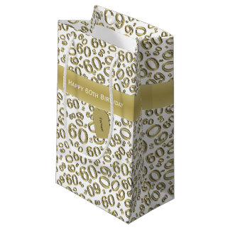 Personalize:  Happy 60th Birthday White/Gold (S) Small Gift Bag
