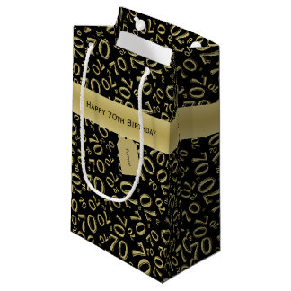Personalize:  Happy 70th Birthday Black/Gold (S) Small Gift Bag