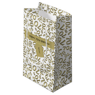 Personalize:  Happy 70th Birthday Party Theme (S) Small Gift Bag