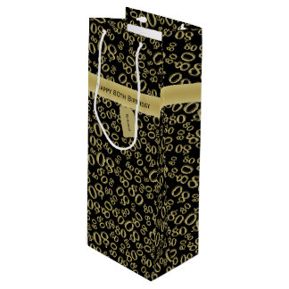 Personalize:  Happy 80th Birthday Party Theme (W) Wine Gift Bag